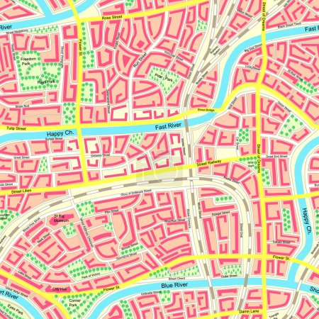 Seamless map unknown city with names.
