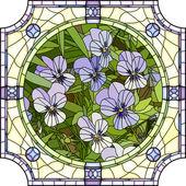 Vector illustration of flower purple pansies