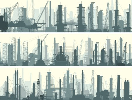 Illustration for Vector horizontal banner: industrial part of city with factories, refineries and power plants. - Royalty Free Image