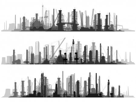 Illustration for Vector set of horizontal illustration: industrial part of city with factories, refineries and power plants. - Royalty Free Image