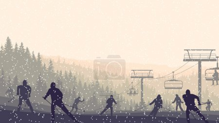 Horizontal illustration of skiers in morning hills coniferous fo