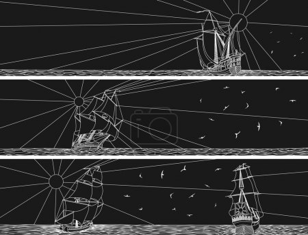 Horizontal banners of sailing ships with birds.