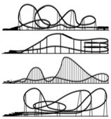 Set of vector silhouettes roller-coaster from amusement park