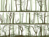 Horizontal banners with many tree trunks