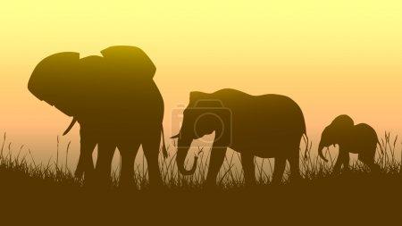 Horizontal illustration of wild animals in sunset savanna.