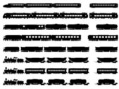 Vector silhouettes of trains and locomotives