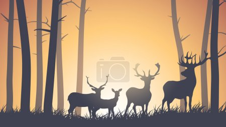 Illustration for Vector horizontal illustration of wild deer in forest sunset. - Royalty Free Image