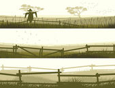 Horizontal vector banner farm fields with fence
