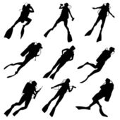 Set silhouettes of divers