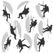 Set of vector silhouettes alpinists (climbers) with ice ax in different poses