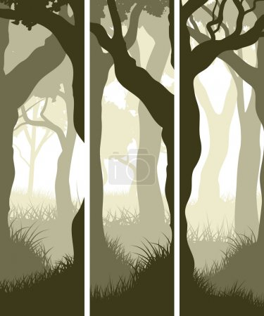 Vertical banners of tree trunks with grass.