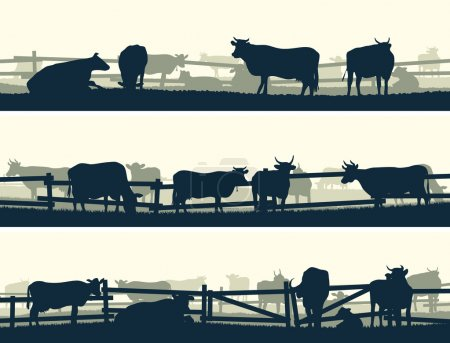 Illustration for Horizontal vector banner silhouettes of grazing farm animals with fence (cows and bulls). - Royalty Free Image