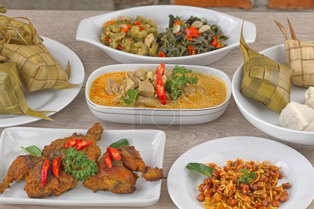 Ketupat Lebaran, Indonesian cuisine for festive da...