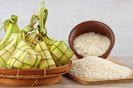 Indonesian famous food, Ketupat for celebration at...