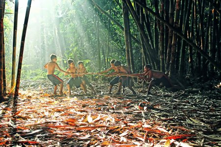 Photo for Children are playing in their village at Rumpin, Bogor, Indonesia - Royalty Free Image