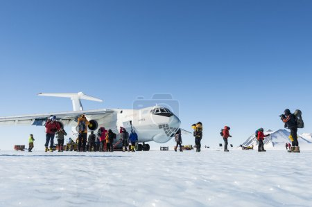 Tourists arriving to the South Pole, Antarctica