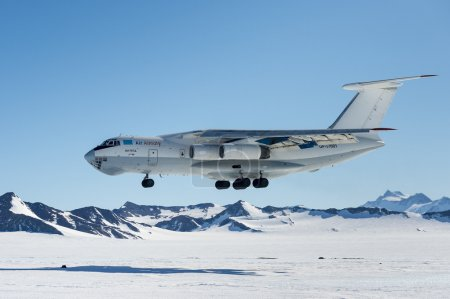 Airplane IL - 76 landing in Antarctica