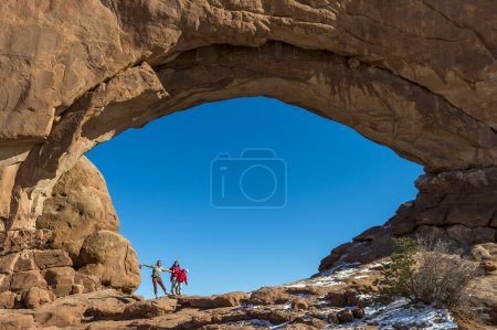 Travellers in Arches National Park, Utah.