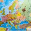 The Europe map with pins to memorize the history o...