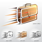 Business briefcase in motion