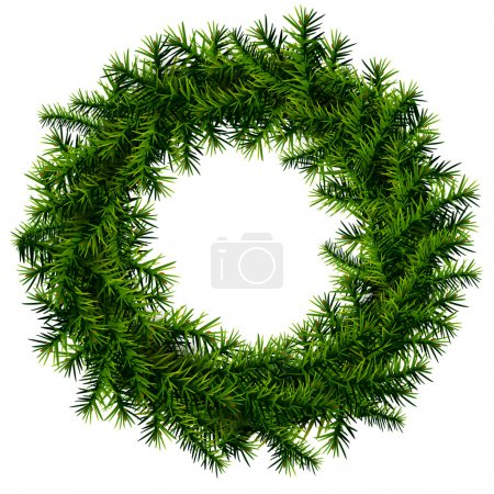 Illustration for Empty wreath of pine branches isolated on white background. Qualitative vector (EPS-10) illustration for new year's day, christmas, decoration, winter holiday, design, new year's eve, silvester, etc - Royalty Free Image