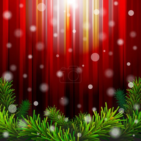 Christmas red background with pine branches against lighting