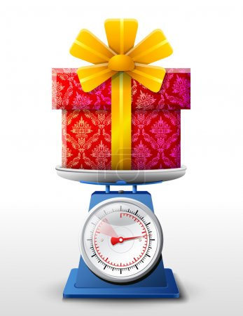 Illustration for Weighing gift box on scales. Qualitative vector (EPS-10) illustration for holiday, packaging supplies, congratulation, gift wrapping, packaging, etc. It has transparent elements, opacity masks, gradients - Royalty Free Image