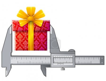 Caliper measures gift sign