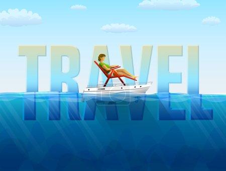 Illustration pour Femme en transat sur voilier. Illustration vectorielle qualitative (EPS-10) sur les voyages, le tourisme, les vacances, les voyages, les croisières, etc. Il a transparence, modes de mélange, masques, dégradés - image libre de droit
