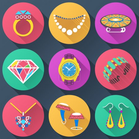 Photo for Collection of color icons for luxury industry. Qualitative vector (EPS-10) symbols about jewellery, accessories, fashion, luxury, precious metal wares, etc. It has blending modes, gradients, solid color - Royalty Free Image