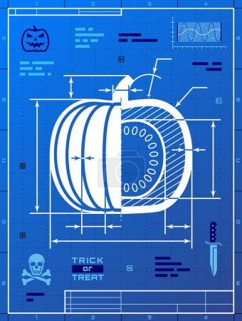 Illustration for Stylized drafting of squash on blueprint paper. Qualitative vector (EPS-10) illustration for halloween, agriculture, vegetables, thanksgiving, cooking, gastronomy, olericulture, etc. It has masks, gradients - Royalty Free Image