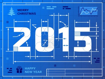 Card of New Year 2015 like blueprint drawing