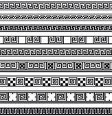 Set of greek ornamental patterns black on white