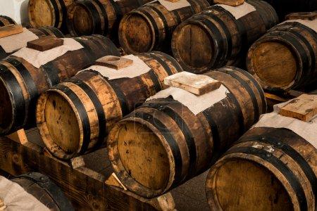 Modena balsamic vinegar barrels for storing and ag...