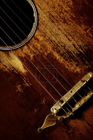 Photo for Color detail of an old, vintage guitar - Royalty Free Image