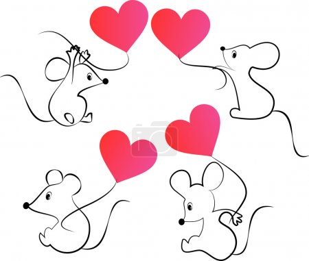Cartoon Mices with Heart