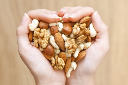 Photo for Various nuts in woman hands forming heart shape - Royalty Free Image