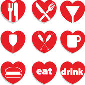 A set of heart themed love food and drink icons