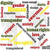 A Transgender themed word graphic featuring international names