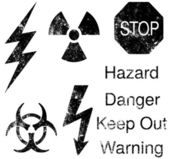 A set of grunge danger and hazard icons