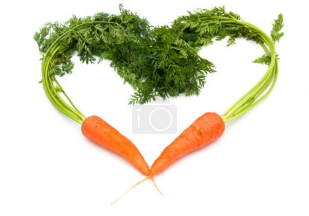 fresh carrots shaped like a heart