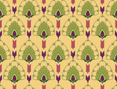 Floral seamless pattern with flower motif in a retro style on yellow background