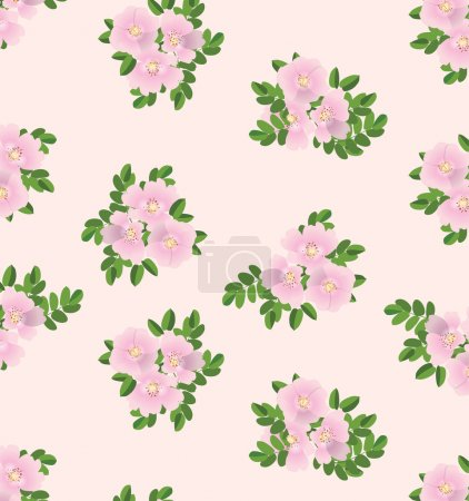 Dog roses seamless flowers pattern