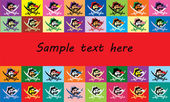 Background text frame with multicolored flags jolly Roger