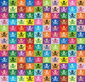 Seamless background from multicolor flags jolly Roger