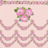 Pattern with pink flowers petunia