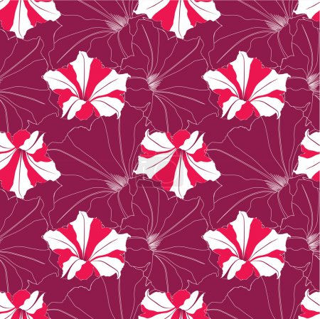 Seamless floral pattern with red and white flowers petunia