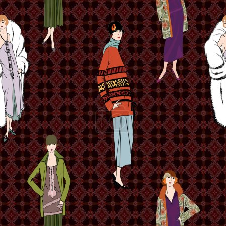 Stylish fashion dressed girls (1950's 1960's style) seamless pattern: Retro fashion party. vintage fashion silhouettes from 60s.