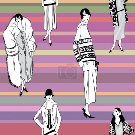 Illustration for Flapper girls (20's style): Retro fashion party - Royalty Free Image