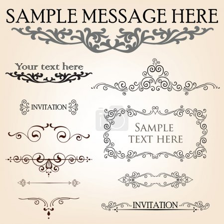 Set of calligraphic retro floral elements for page decoration. Vintage Victorian Vector Design Ornament Decor.